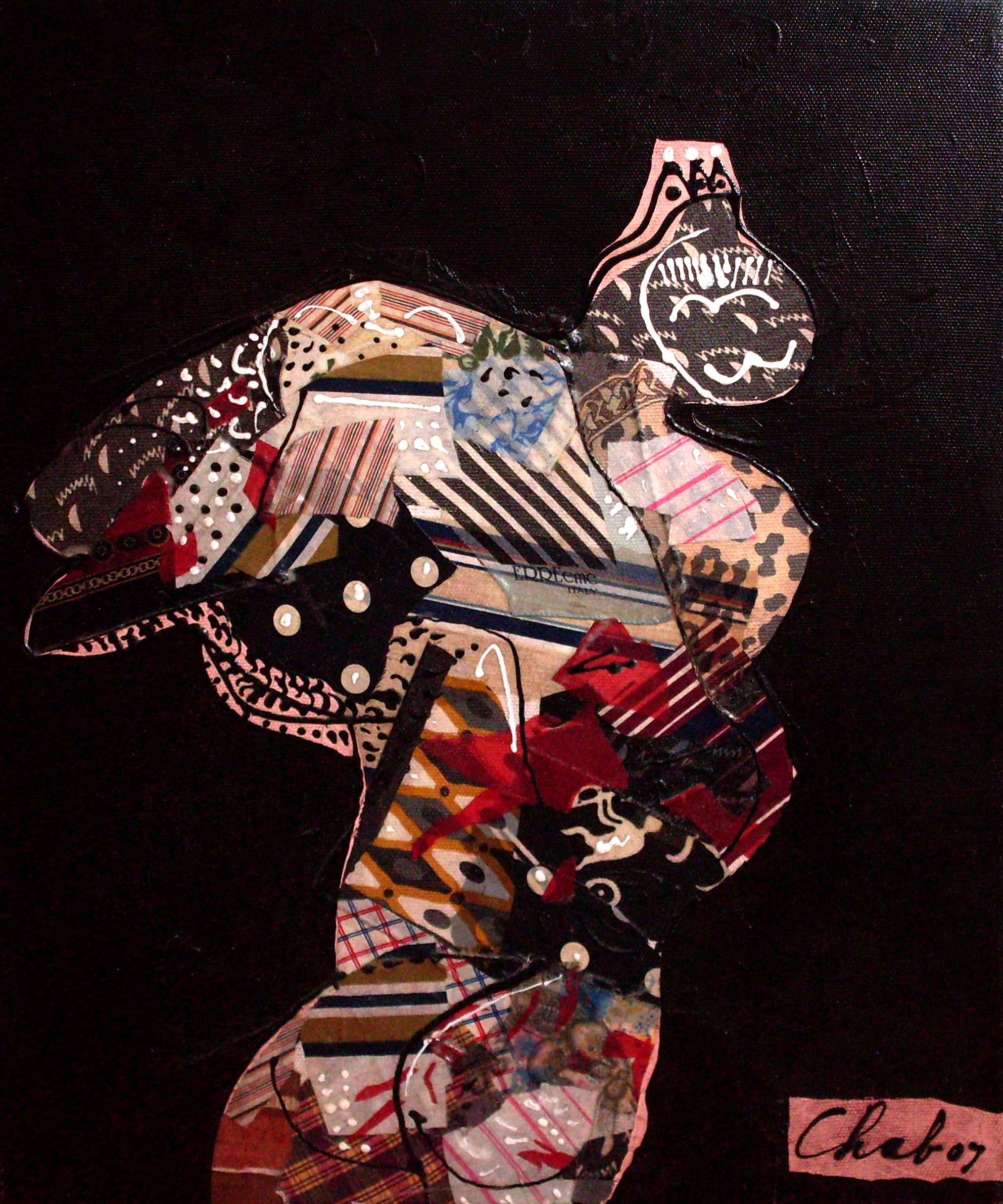 """<strong>""""Virgo"""" (2007)</strong><br>Collage y acrílico s/tela 60 x 50 cm"""