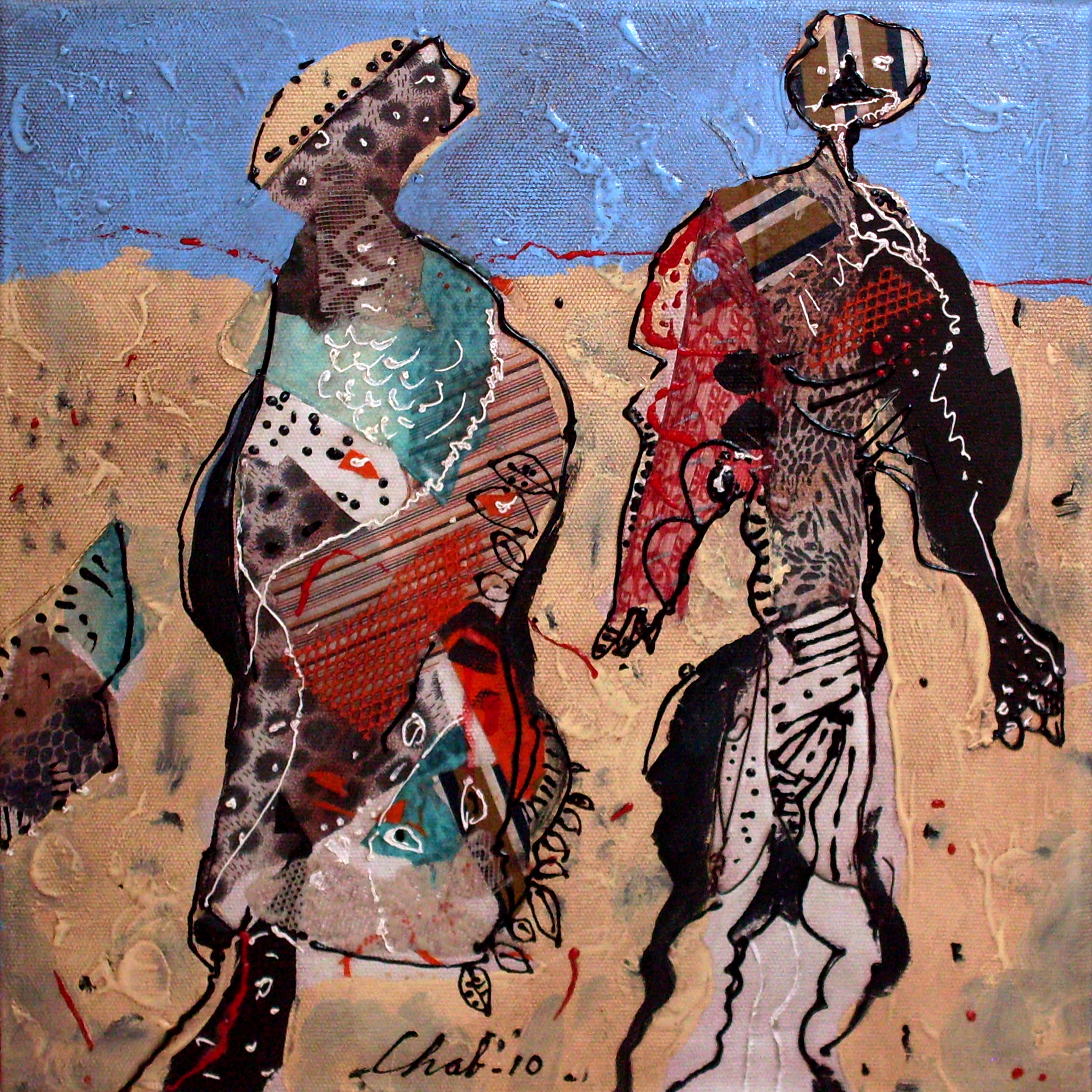 """<strong>""""La conversación"""" (2010)</strong><br>Collage y acrílico s/tela 50 x 50 cm"""