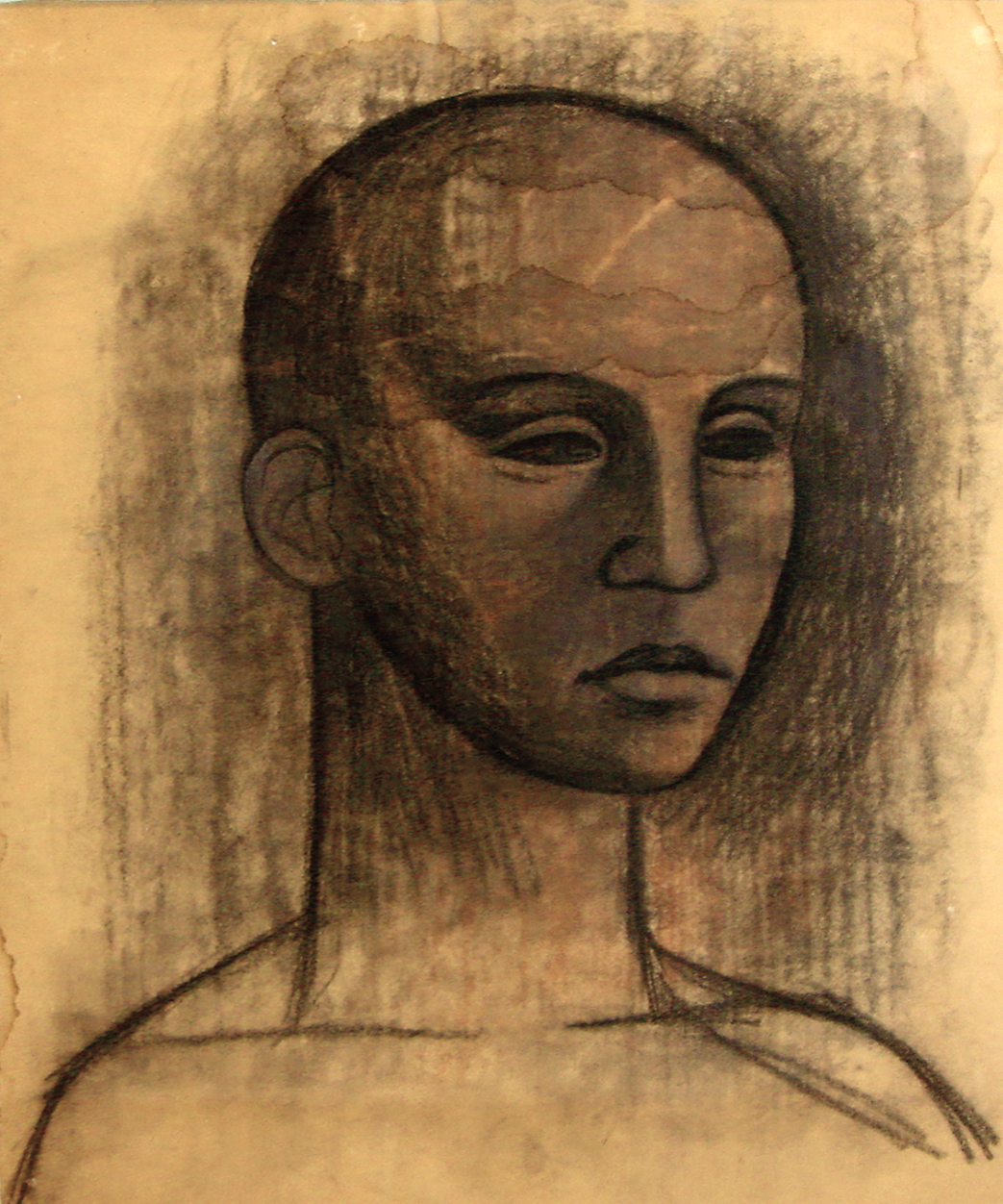 """<strong>""""Cabeza"""" (1947)<br></strong>Carbonilla sobre papel 54 x 45 cm"""