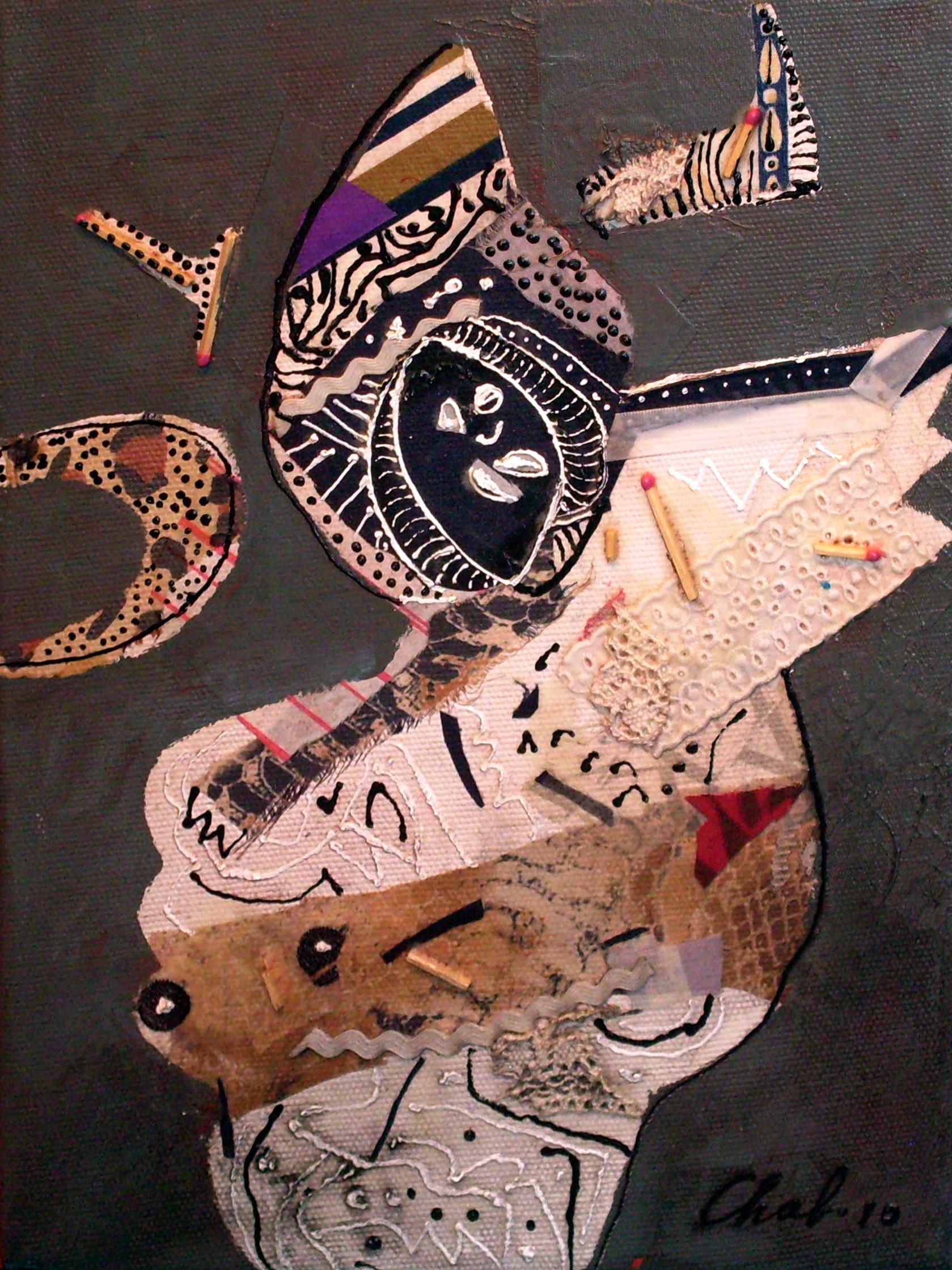 """<strong>""""Máscara""""(2010)</strong><br>Collage y acrílico s/tela 40 x 30 cm"""