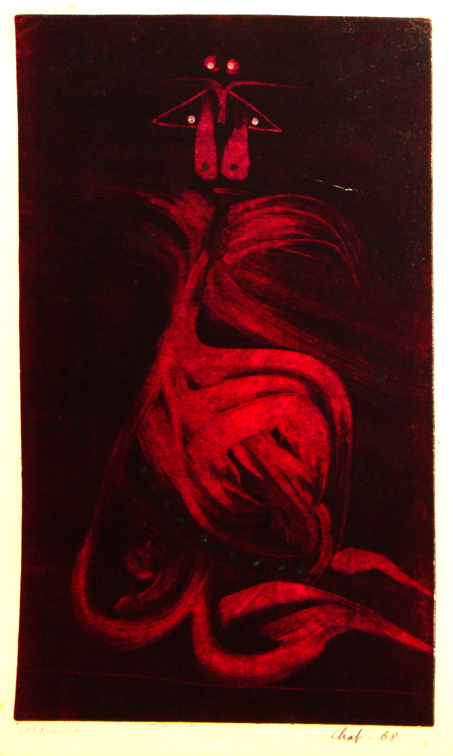"<strong>""Crepúsculo"" (1968)</strong><br>Monocopia color s/papel 50 x 30 cm"