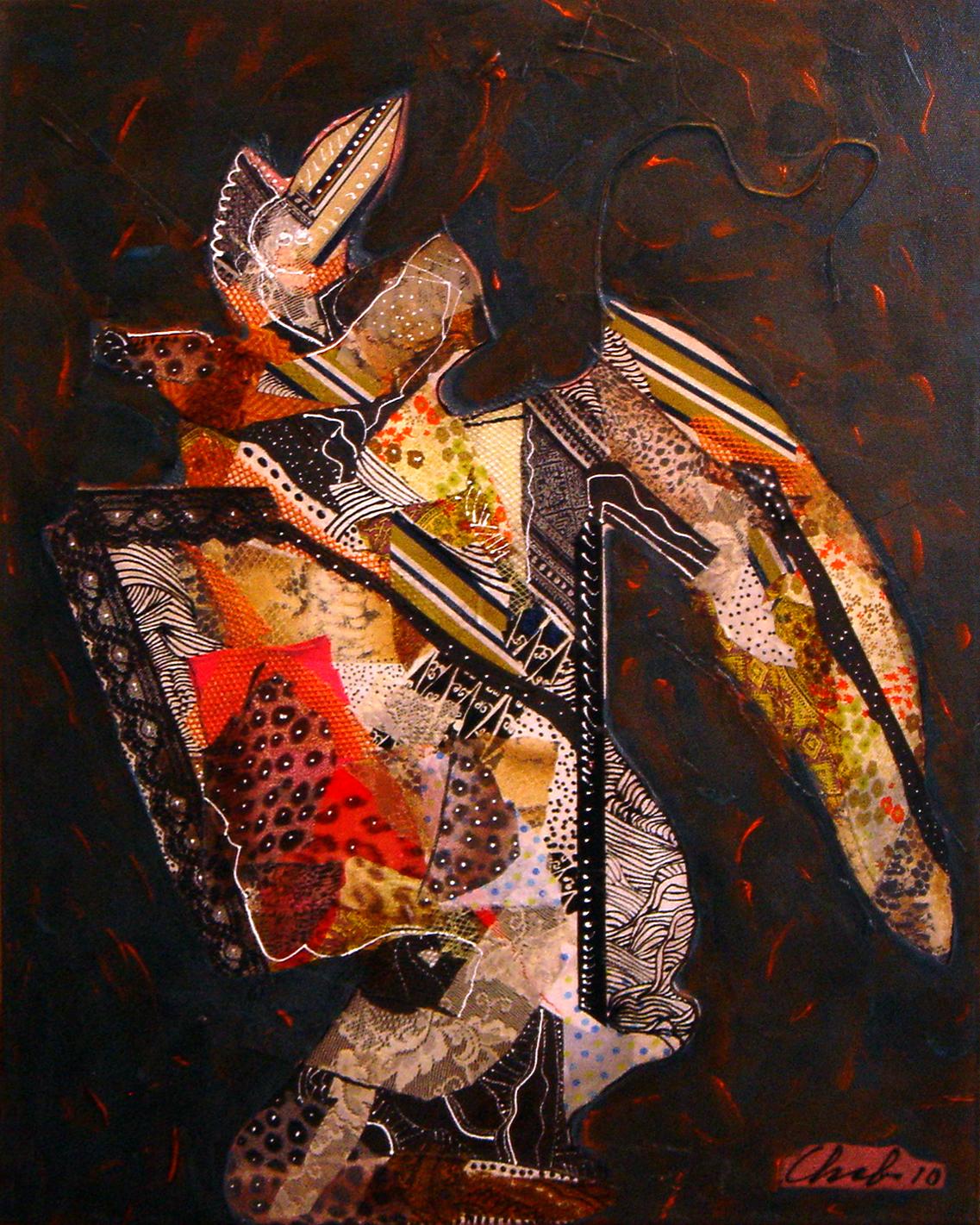 "<strong>""Allegro Vivace"" (2010)</strong><br>Collage y acrílico s/tela 100 x 80 cm"