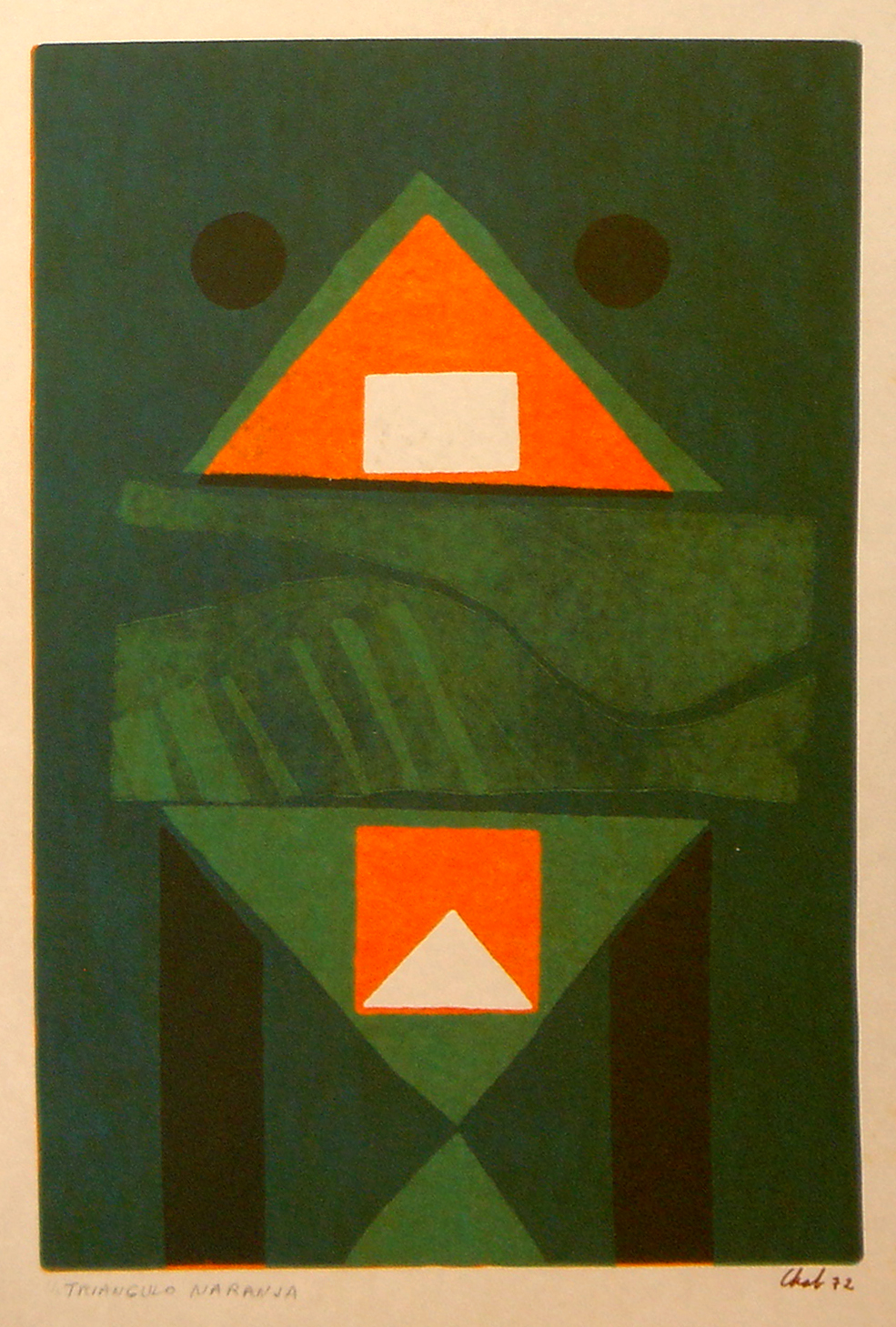 """<strong>""""Triángulo naranja"""" (1972)</strong><br>Monocopia color s/papel 40 x 27 cm"""