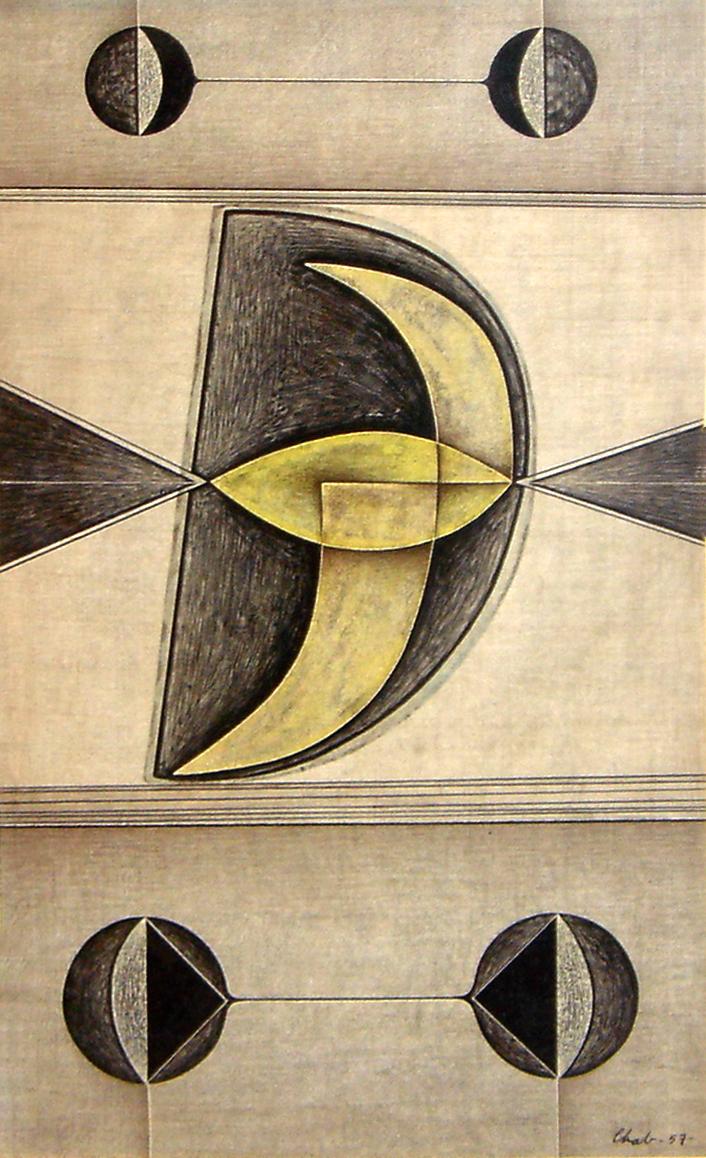 """<strong>""""Cuatro lunas"""" (1953)</strong><br>Tinta sobre papel 41 x 25 cm"""