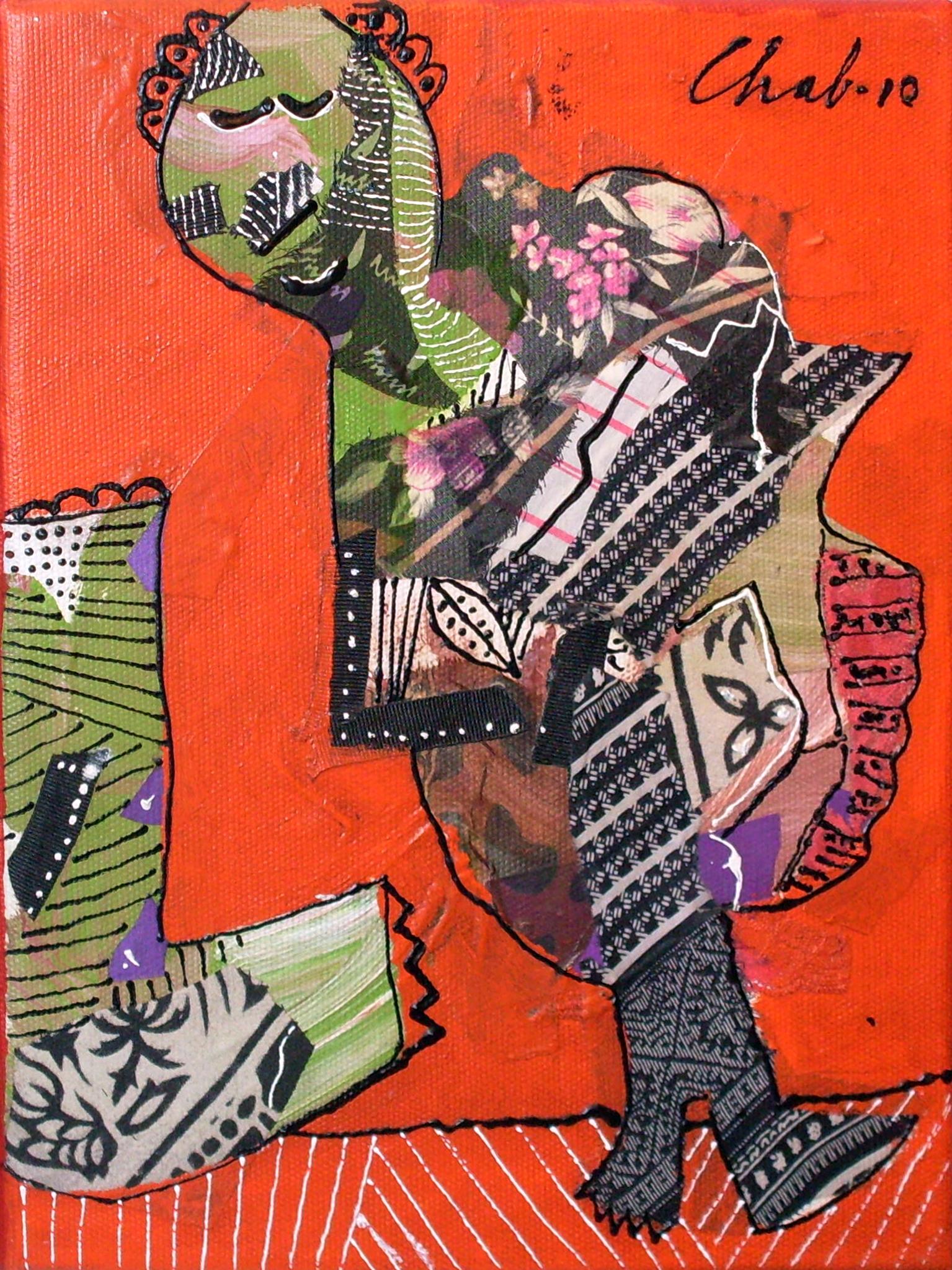 "<br><br><br><strong>""Caminante"" (2010)</strong><br>Collage y acrílico s/tela 40 x 30 cm"