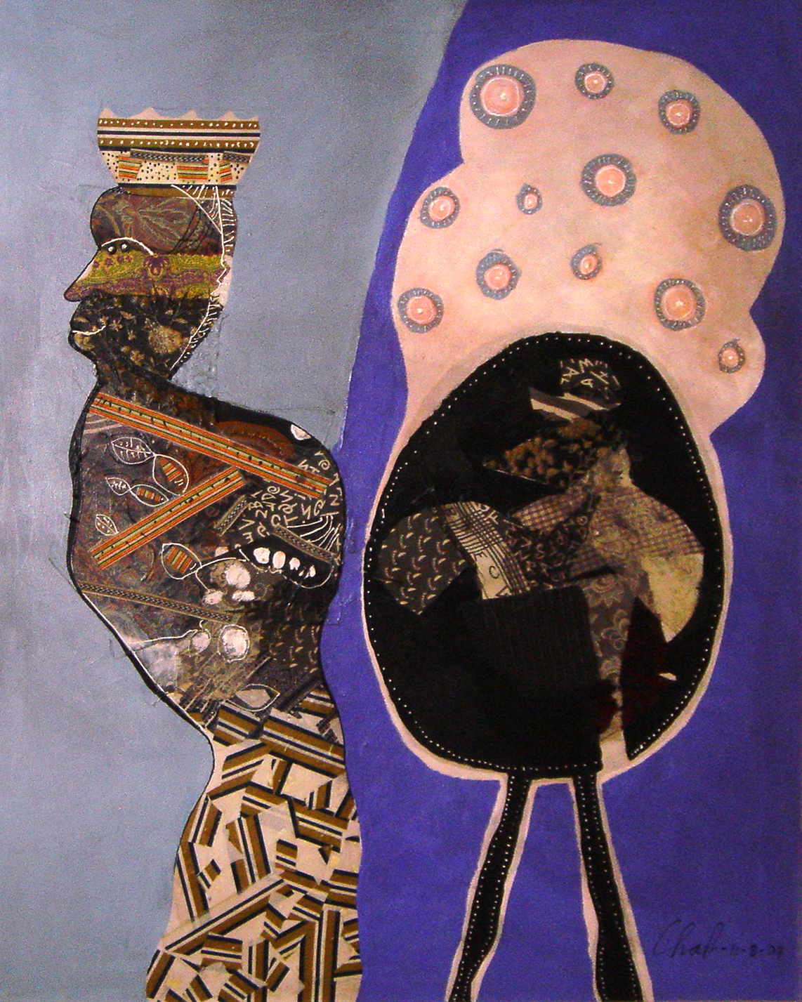 """<strong>""""La reina africana"""" (2007)</strong><br>Collage y acrílico s/tela 150 x 120"""