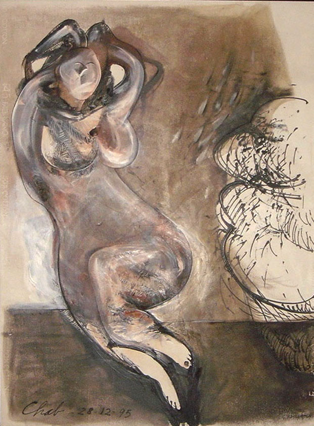 """<strong>""""Desnudo"""" (1995)<br></strong>Técnica mixta s/papel 100 x 70 cm"""